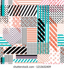 Colorful polka dots,stripe,line,pattern mix in modern style seamless pattern vector design for fashion,fabric,wallpaper and all prints on white background color
