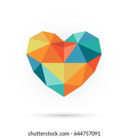 Colorful polygon heart. Abstract 3d shape for your design.