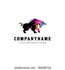 Colorful Polygonal Bull Logo Vector