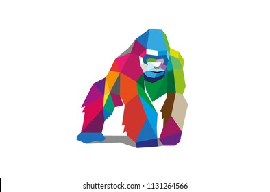 Colorful Polygonal Gorilla Silverback Logo Design Illustration