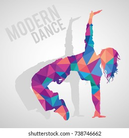 Colorful polygonal silhouette of sportive girl dancing modern dance styles. Modern dance lettering. Multicolored polygonal detailed vector silhouette.