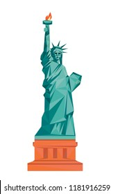 Colorful polygonal style design of american statue of liberty