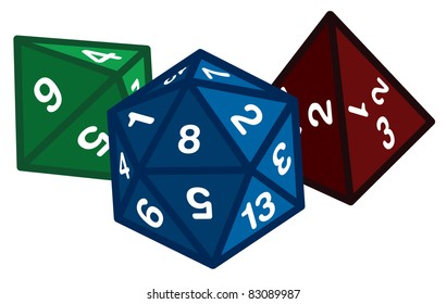 Colorful Polyhedral Dice Gaming Dice Vector Graphic Icon