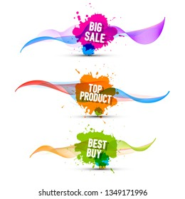 Colorful Pomotion Labels Set. Big Sale, Top Product and Best Buy Web Icons.