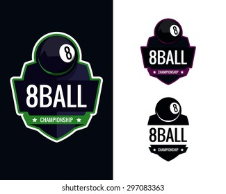Colorful pool billiards logo labels. Vector illustration.