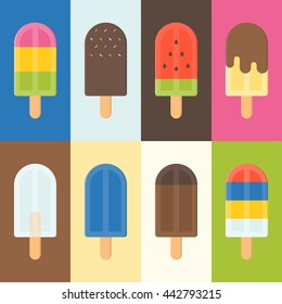 Colorful Popsicle  icon, flat design vector