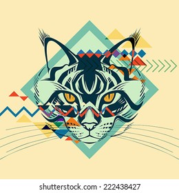 Colorful portrait of a cat. Creative illustration