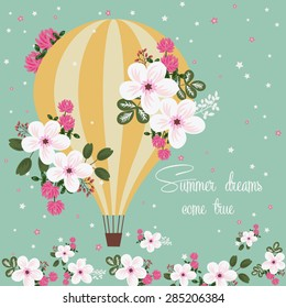 Colorful positive floral summer background - balloon and flowers (vector template)