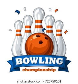 Colorful poster for bowling tournament. Vector template poster with composition of bowling skittles, orange bowling ball and inscription on blue ribbon 1.1