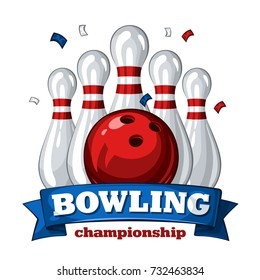 Colorful poster for bowling tournament. Vector template poster with composition of bowling skittles, red bowling ball and inscription on blue ribbon 1.1