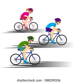Colorful poster with cyclists riding bicycles. Cycling poses in bright silhouettes. Bicycle road racers. Competition and marathon. Adventure and travel outdoor on bicycle.vector  illustration