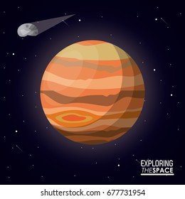 colorful poster exploring the space with planet jupiter and asteroid