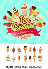 Colorful poster with ice cream collection.  Vector illustration in modern flat style.