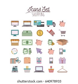 colorful poster with shopping icon set vector illustration