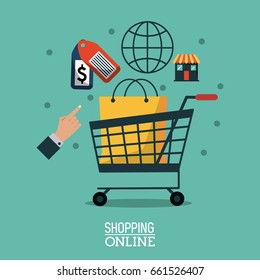colorful poster shopping online with bag in shopping cart and online buying icons