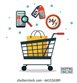 colorful poster shopping online with shopping cart with bag and icons
