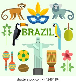 Colorful poster with symbols of Brazil isolated on background. Vector illustration.