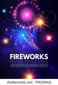 Colorful Poster Template with Fireworks. Party Flyer. Vector illustration