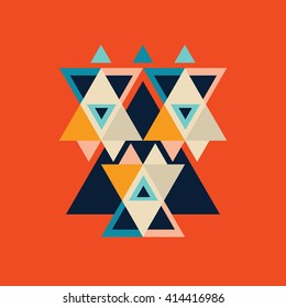 Colorful poster with triangle geometric shapes Ethnic retro style background