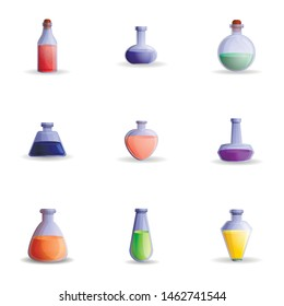 Colorful potion icon set. Cartoon set of 9 colorful potion vector icons for web design isolated on white background