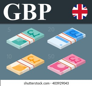 Colorful pound sterling banknotes. Isometric design vector illustration.