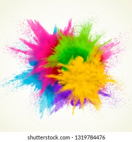 Colorful powder explosion effect on white background