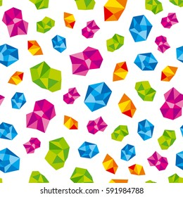 Colorful precious gems, jewels. Vector seamless pattern background.