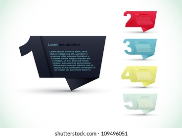 Colorful presentations with five text box, speech bubble vector background