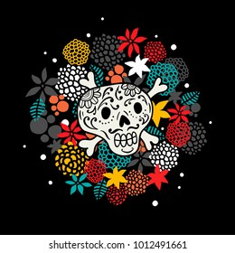 Colorful print with skull and bones. Floral illustration in vector.