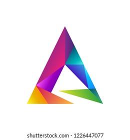 colorful prism letter A logo concept, vector arrow gradient color, mosaic shape style, creative initial letter logo element for template
