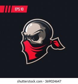 Colorful professional sports skull mascot logo in bandana, good idea for team. Vector illustration