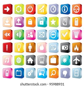 Colorful Program and Interface Icons Isolated on White Background, 3D vector icon set
