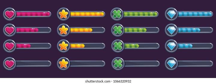 Colorful progress bar set, vector illustration