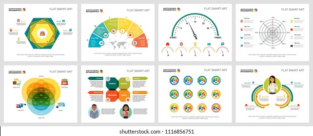 Colorful promotion or training concept infographic charts set. Business design elements for presentation slide templates. For corporate report, advertising, leaflet layout and poster design.