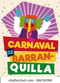 Colorful promotional poster of Barranquilla's Carnival (written in Spanish) with festive marimonda (Colombian traditional disguise) for that happy event.