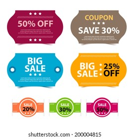 Colorful Promotions Vector, Coupon Big Sale 50, 30,and 25 Percent Off Template.