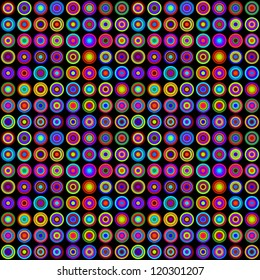 Colorful Psychedelic Circles on Black Background