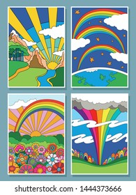 Colorful Psychedelic Landscapes Set, 1960s, 1970s Hippie Art Style, Hand Drawn Posters, Rainbows, Clouds, Flowers