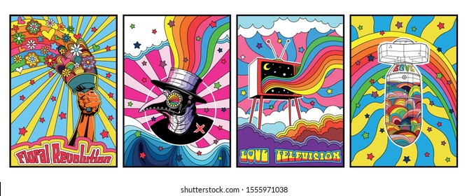 Colorful Psychedelic Poster from the 1960s, 1970s Love Banners, Psychedelic Background Set
