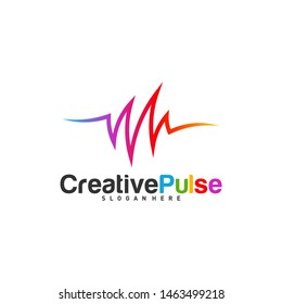 Colorful Pulse logo Concepts Vector. Pulse People Logo Design Template Vector. Sound waves vector illustration design template. unique pulse or wave logo design