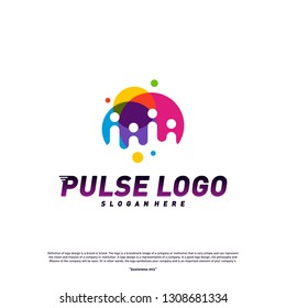 Colorful Pulse logo design concept vector. People Beat logo Template Vector.