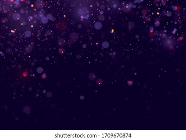 Colorful purple bokeh effect.Texture background abstract Glitter and elegant for Christmas. Dust white. Sparkling magical dust particles. Magic concept. Vector