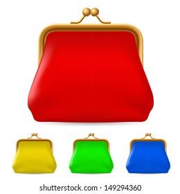 Colorful purses. Illustration on white background for design