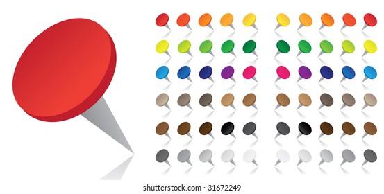 Colorful Pushpins - Vector