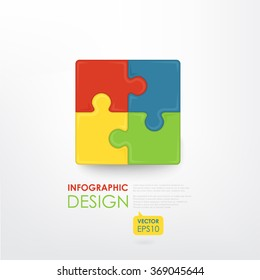 Colorful puzzle (4 details). Business component. The image can be used for your business, presentations, projects, promotion