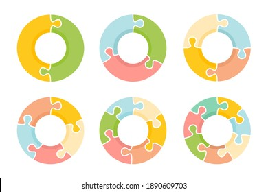 Colorful Puzzle Circle Infographic on white background.
