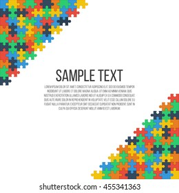 Colorful puzzle in the corners of the image. Bright abstract frame,  place for your text. Vector, eps 10.