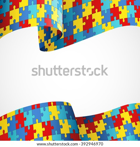 Colorful Puzzle Flag Symbol Autism Awareness Stock Vector Royalty