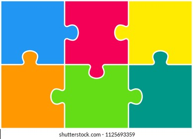 Colorful Puzzle Four Piece Presentation. Rectangle Infographic. 6 Steps Process Diagram Card. Section Compare Service Banner. Background. Rectangle Puzzles Pieces.