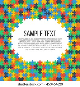 Colorful puzzle frame. Place for your text. Vector, eps 10.